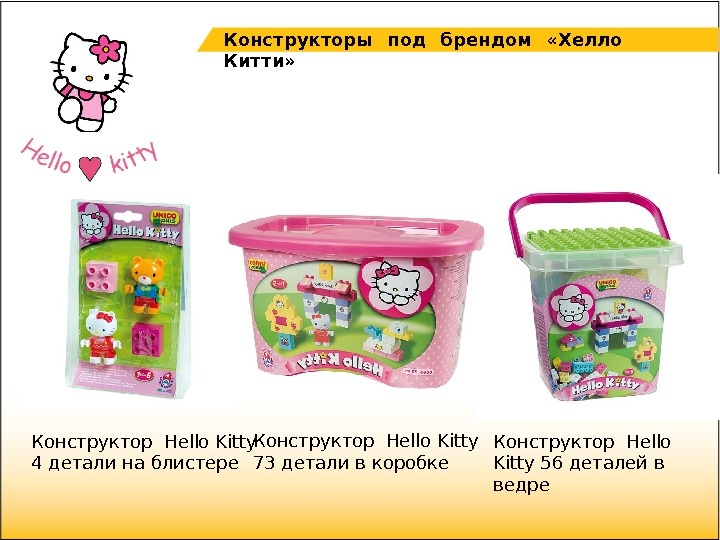 Конструктор Hello Kitty 4 детали на блистере Конструктор Hello Kitty 56 деталей в ведре.