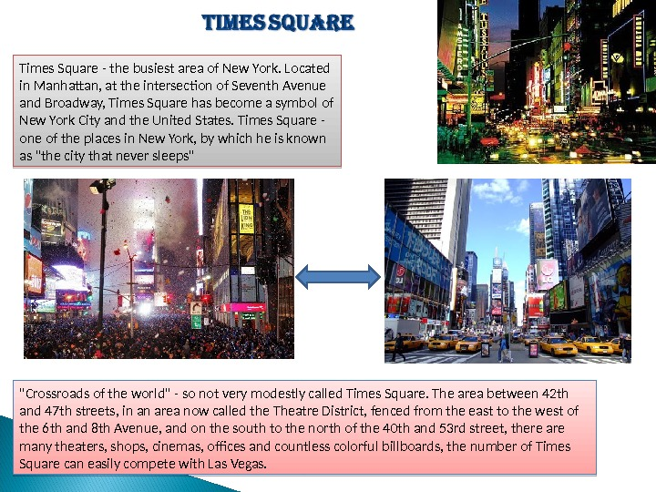Times Square - the busiest area of New York. Located in Manhattan, at the intersecton of