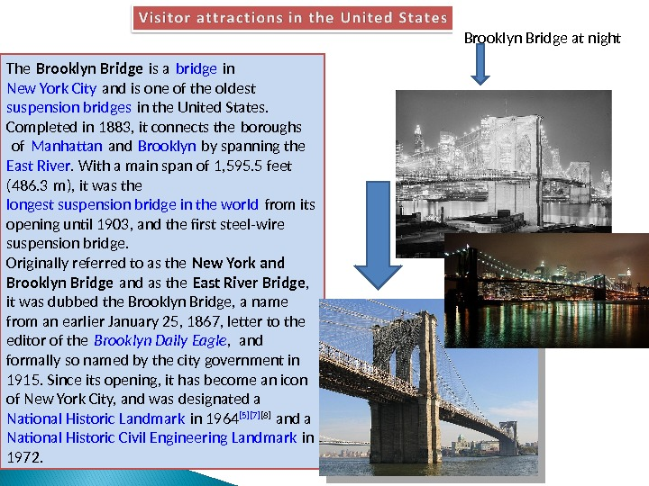 The Brooklyn Bridge is a bridge in New York City and is one of the oldest