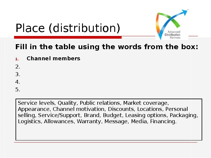 Place (distribution) Fill in the table using the words from the box:  1.