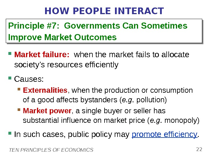 TEN PRINCIPLES OF ECONOMICS 22 HOW PEOPLE INTERACT Market failure:  when the market fails to