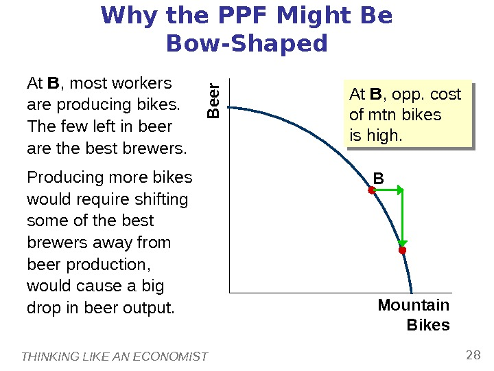 THINKING LIKE AN ECONOMIST 28 BWhy the PPF Might Be Bow-Shaped At B , most workers