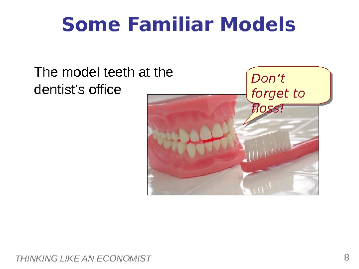 THINKING LIKE AN ECONOMIST 8 Some Familiar Models The model teeth at the dentist's office Don't