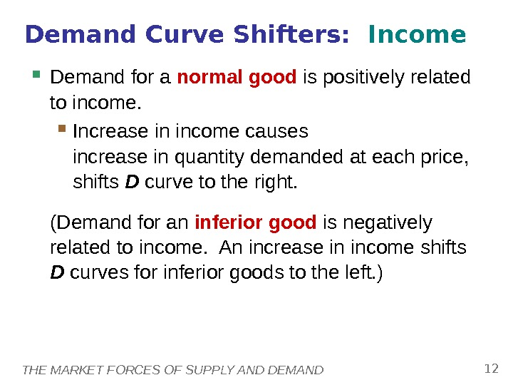 THE MARKET FORCES OF SUPPLY AND DEMAND 12 Demand for a normal good is positively related