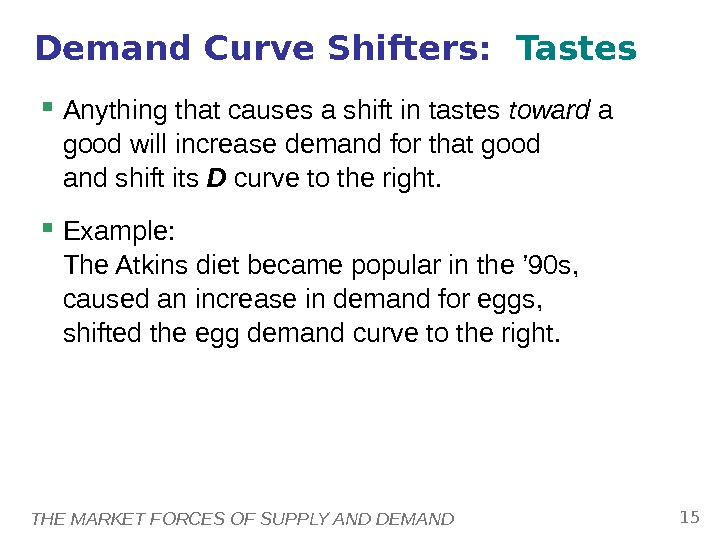 THE MARKET FORCES OF SUPPLY AND DEMAND 15 Anything that causes a shift in tastes toward