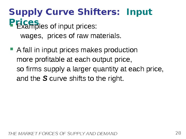 THE MARKET FORCES OF SUPPLY AND DEMAND 28 Supply Curve Shifters:  Input Prices Examples of