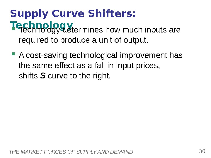 THE MARKET FORCES OF SUPPLY AND DEMAND 30 Supply Curve Shifters:  Technology determines how much
