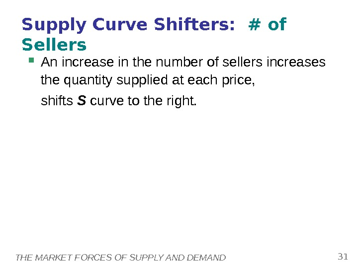 THE MARKET FORCES OF SUPPLY AND DEMAND 31 Supply Curve Shifters:  # of Sellers An