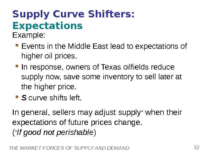 THE MARKET FORCES OF SUPPLY AND DEMAND 32 Supply Curve Shifters:  Expectations  Example: