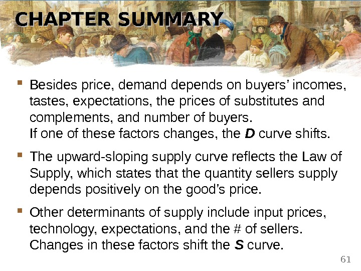 CHAPTER SUMMARY Besides price, demand depends on buyers' incomes,  tastes, expectations, the prices of substitutes