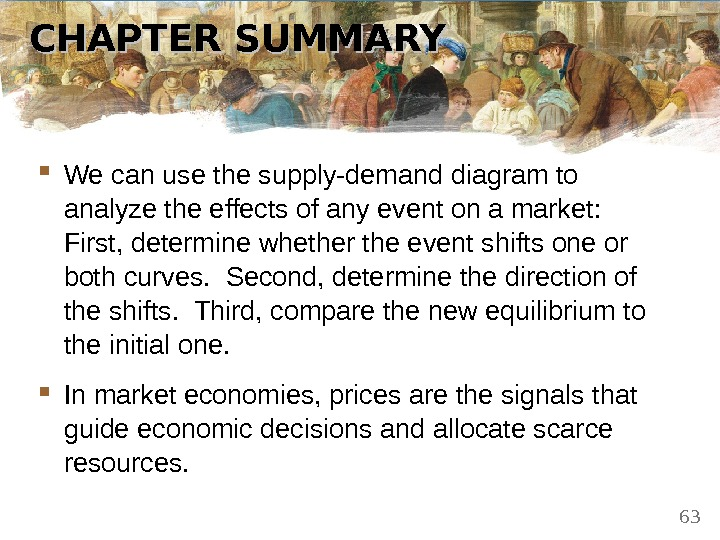 CHAPTER SUMMARY We can use the supply-demand diagram to analyze the effects of any event on