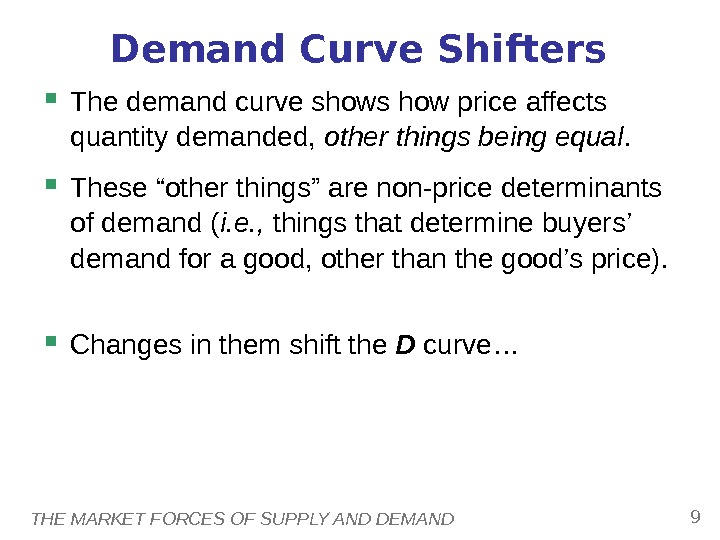 THE MARKET FORCES OF SUPPLY AND DEMAND 9 Demand Curve Shifters The demand curve shows how