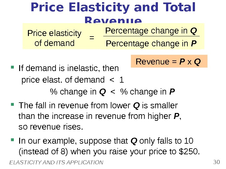 ELASTICITY AND ITS APPLICATION 30 Price Elasticity and Total Revenue If demand is inelastic, then price