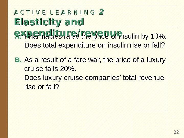 A. Pharmacies raise the price of insulin by 10.  Does total expenditure on insulin rise