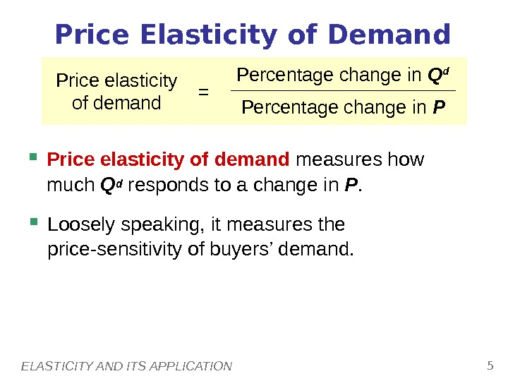 ELASTICITY AND ITS APPLICATION 5 Price Elasticity of Demand Price elasticity of demand measures how much