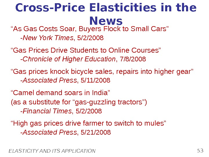 "ELASTICITY AND ITS APPLICATION 53 Cross-Price Elasticities in the News "" As Gas Costs Soar, Buyers"
