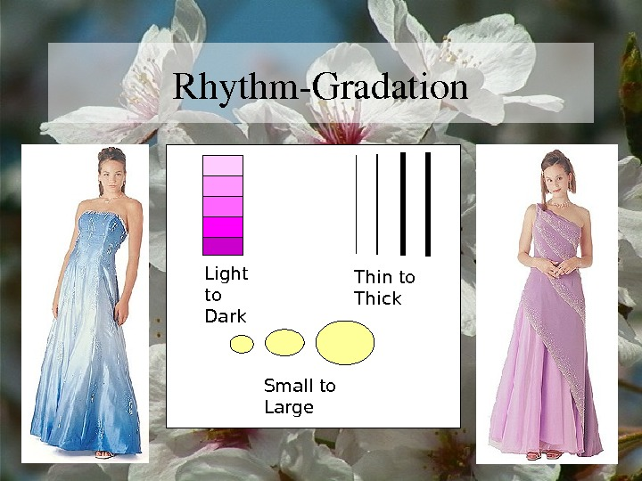 Rhythm. Gradation Light to Dark Thin to Thick Small to Large