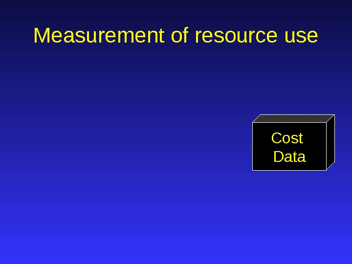Cost Data. Measurement of resource use