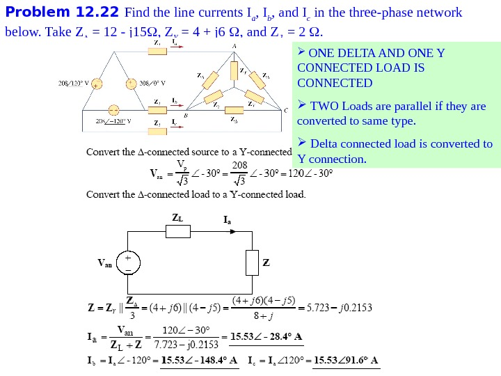 Problem 1 2. 22 Find the line currents I a , I b , and I