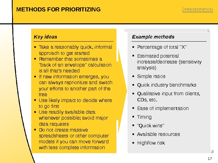 17 METHODS FOR PRIORITIZING ▪ Take a reasonably quick, informal approach to get started ▪ Remember