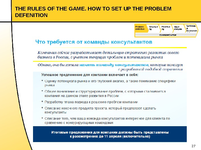 27 THE RULES OF THE GAME. HOW TO SET UP THE PROBLEM DEFENITION Synthesis & recom-men