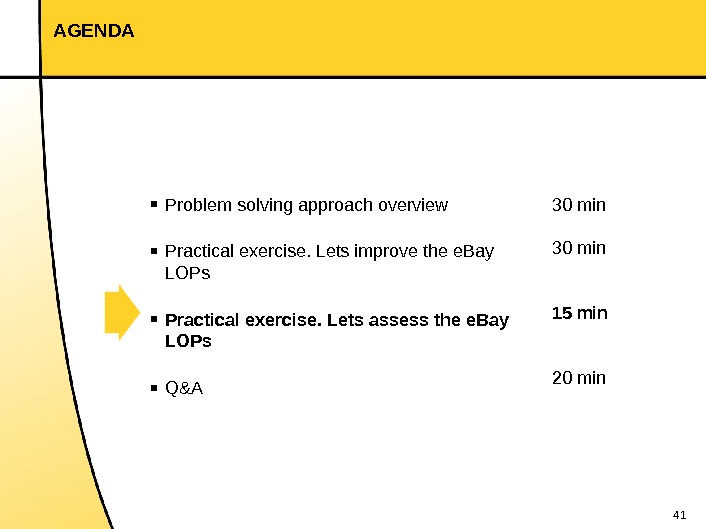 41 AGENDA 30 min 15 min 20 min▪ Problem solving approach overview ▪ Practical exercise. Lets