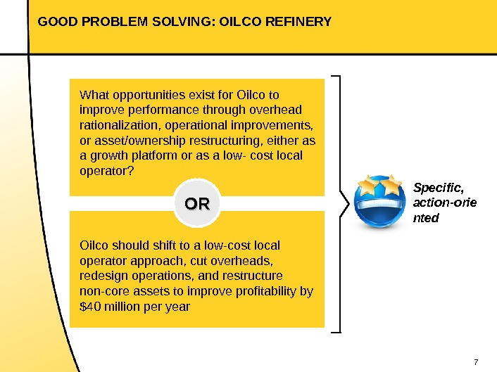 7 GOOD PROBLEM SOLVING: OILCO REFINERY What opportunities exist for Oilco to improve performance through overhead