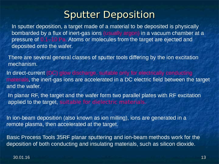 30. 01. 16 1313 Sputter Deposition In sputter deposition, a target made of a material to