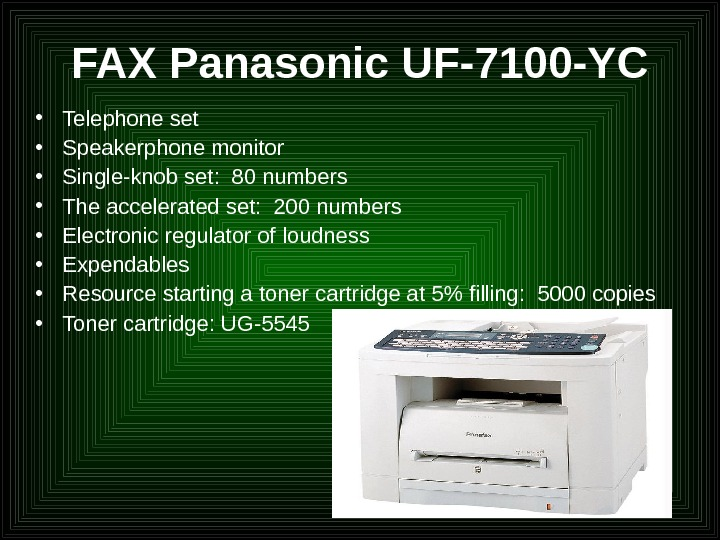 FAX Panasonic UF-7100 -YC • Telephone set • Speakerphone monitor  • Single-knob set:  80
