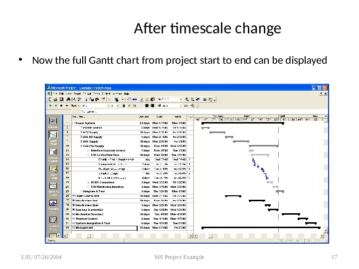 After timescale change • Now the full Gantt chart from project start to end can be