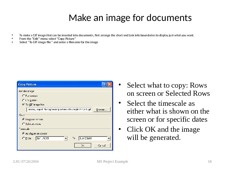 Make an image for documents • To make a GIF image that can be inserted into