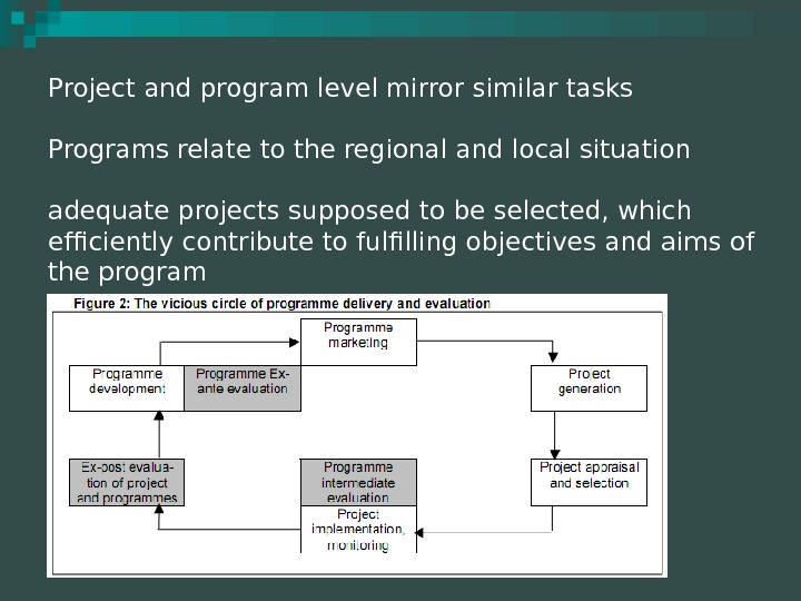 Project and program level mirror similar tasks Programs relate to the regional and local situation adequate