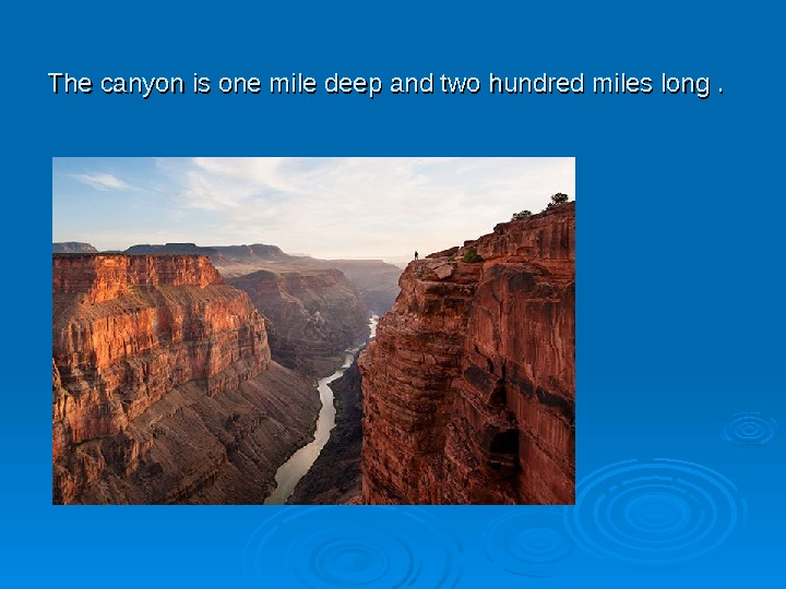 The canyon is one mile deep and two hundred miles long.