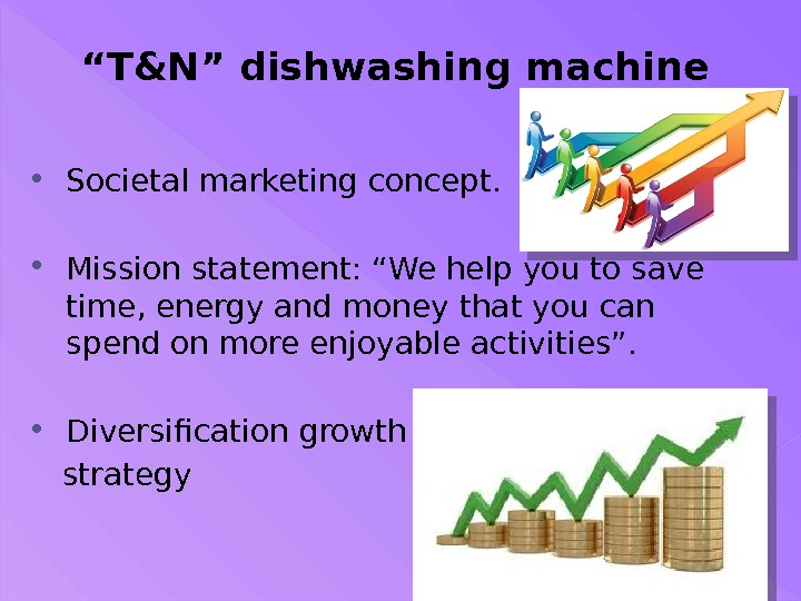 """ T&N"" dishwashing machine Societal marketing concept.  Mission statement: ""We help you to save time,"