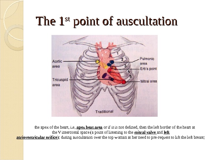 The 1 stst point of auscultation the apex of the heart, i. e,  apex beat
