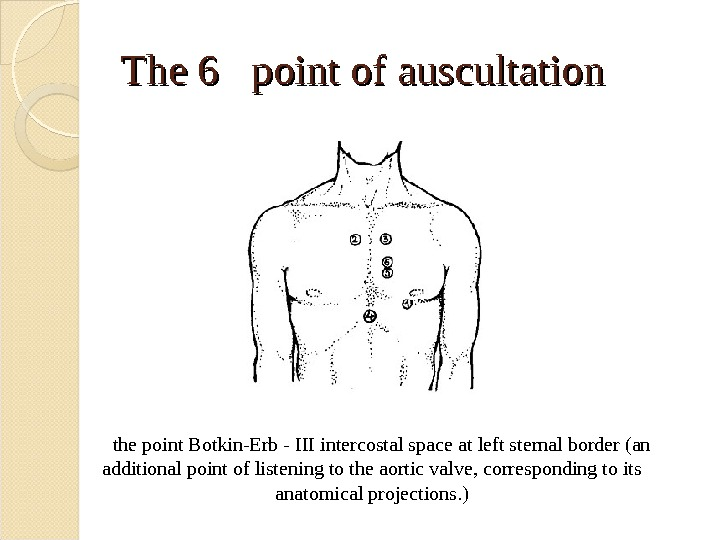 The 6  point of auscultation the point Botkin-Erb - III intercostal space at left sternal