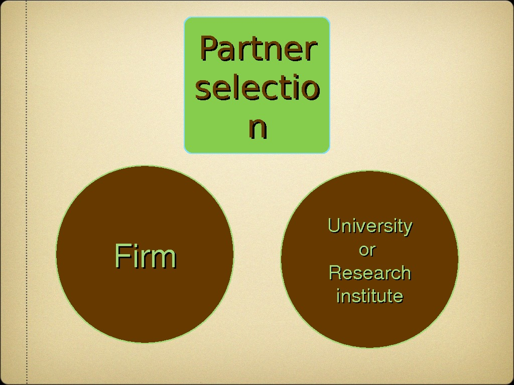 Partner selectio nn Firm University oror Research institute
