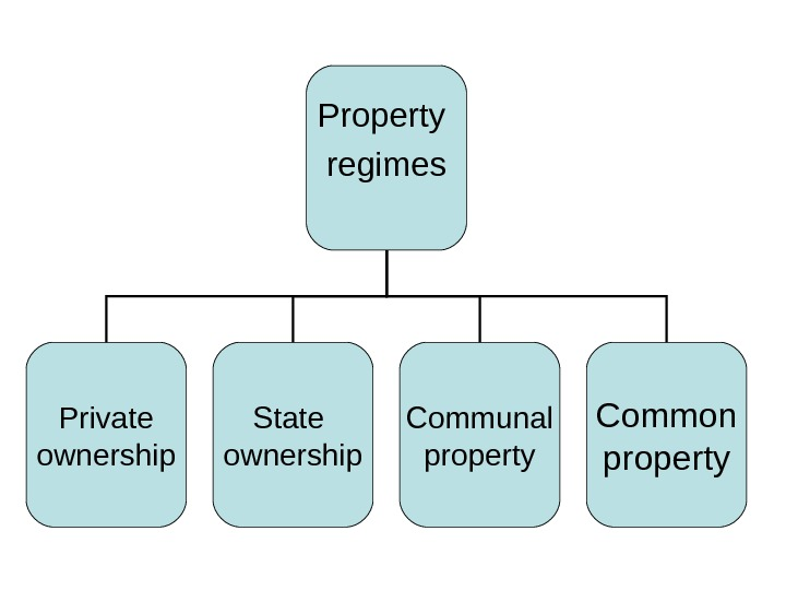 Property regimes Private ownership Communal property Common property. State ownership