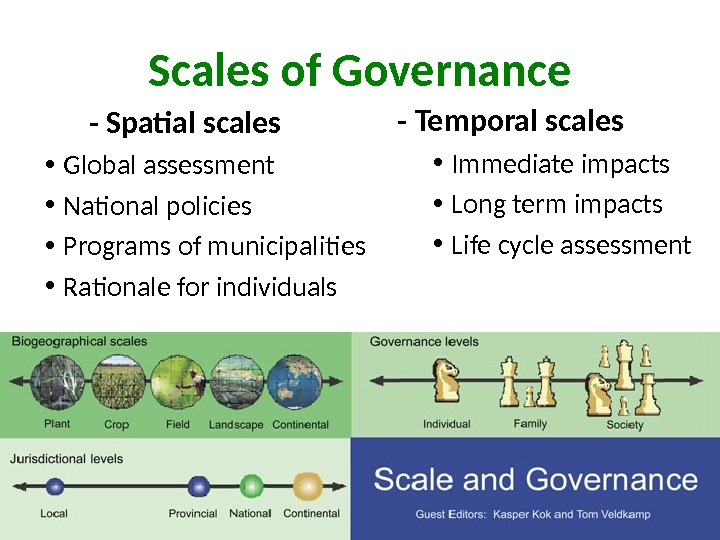 Scales of Governance   - Spatial scales • Global assessment • National policies • Programs