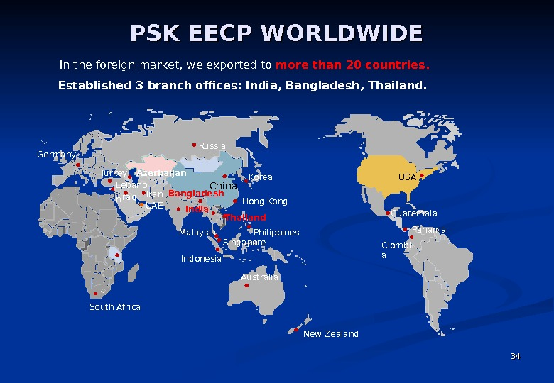 PSK EECP WORLDWIDE 3434 Philippines  Malaysia Singapore China USA UAE New Zealand Russia