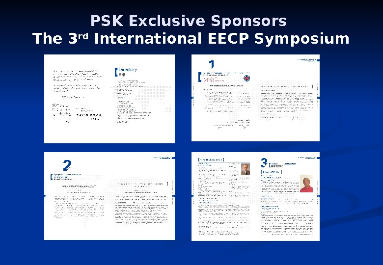 PSK Exclusive Sponsors The 3 rd International EECP Symposium