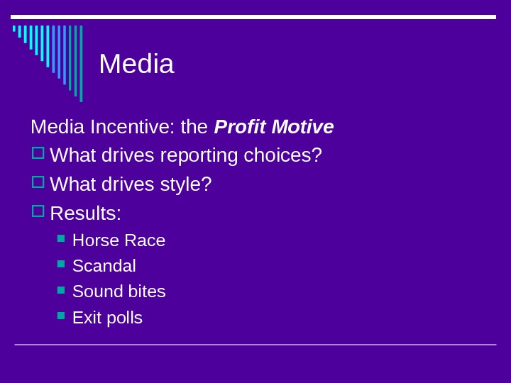 Media Incentive: the Profit Motive What drives reporting choices?  What drives style?