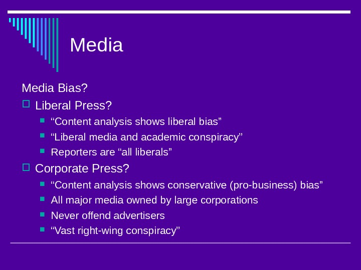 "Media Bias?  Liberal Press?  "" Content analysis shows liberal bias"" "" Liberal"