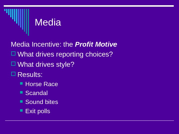 Media Incentive: the Profit Motive What drives reporting choices?  What drives style?  Results:
