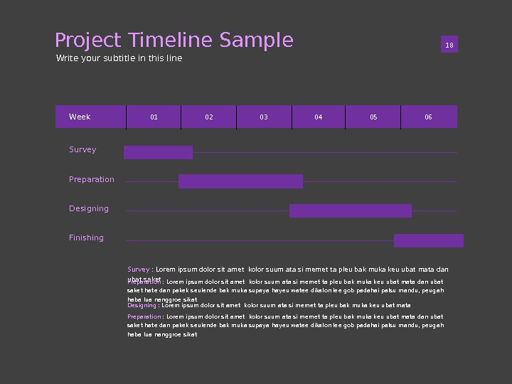 Project Timeline Sample 01 18 Write your subtitle in this line Survey Preparation Designing Finishing. Week