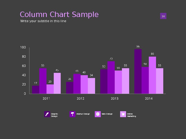 Column Chart Sample 01 30 Write your subtitle in this line Graphic Design Online Marketing. Interior