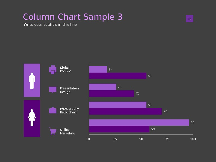 Column Chart Sample 3 01 32 Write your subtitle in this line Digital Printing Presentation Design