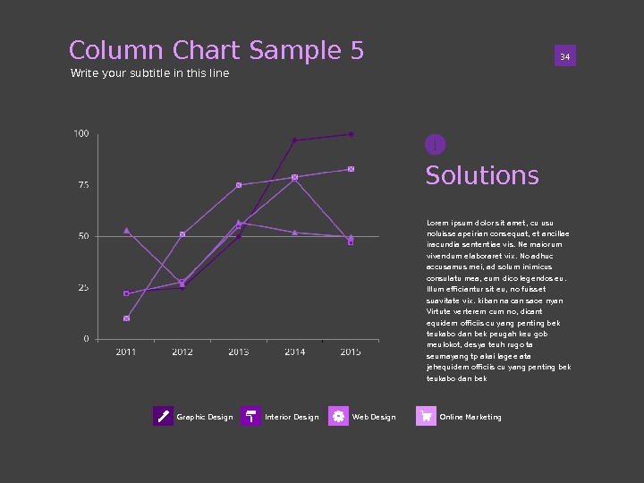 Column Chart Sample 5 01 34 Write your subtitle in this line Graphic Design Online Marketing.