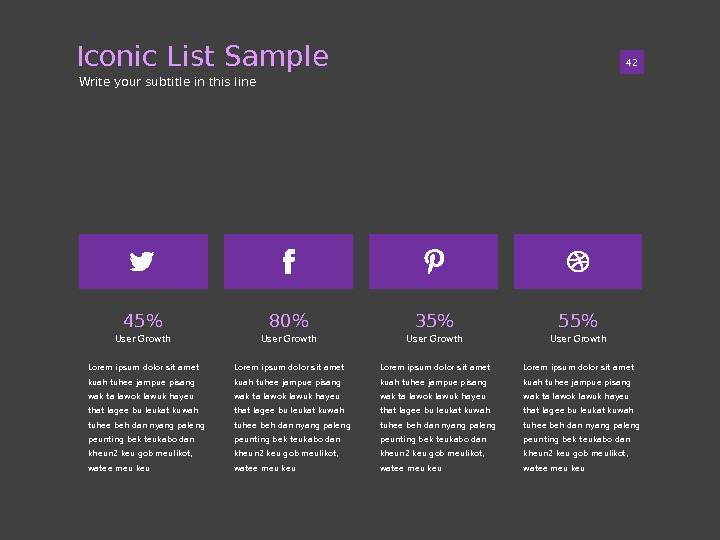 Iconic List Sample 0142 Write your subtitle in this line 45 User Growth Lorem ipsum dolor