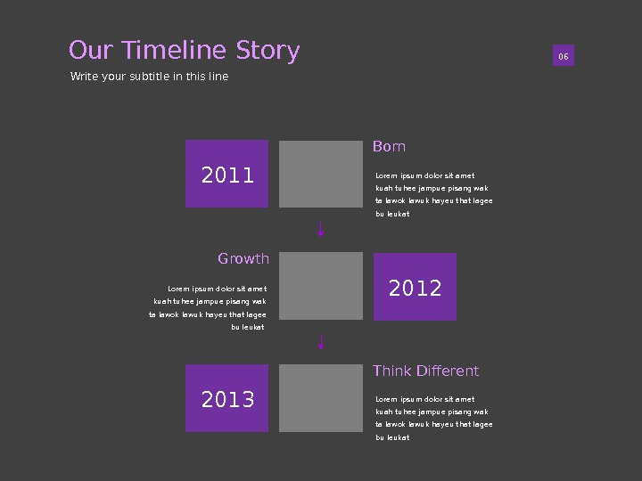Our Timeline Story 01 06 Write your subtitle in this line Lorem ipsum dolor sit amet